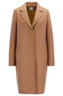 Manteau en tissu lourd, en laine mélangée à teneur en cachemire, Brun chiné