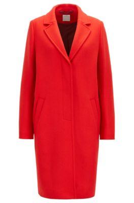 Regular-Fit Mantel aus schwerem Woll-Mix mit Kaschmir, Rot