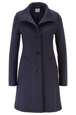 Cappotto button through in misto lana con cashmere, Blu