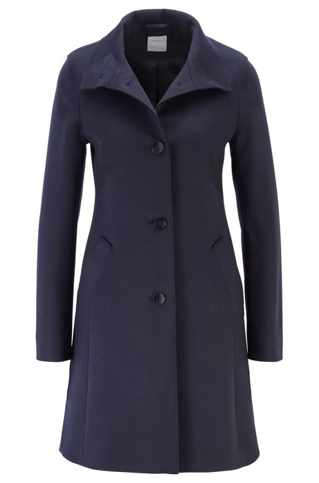 Button-through coat in a wool blend with cashmere, Blue