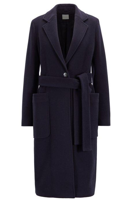 Manteau avec ceinture à nouer en laine vierge mélangée à du cachemire, Bleu foncé