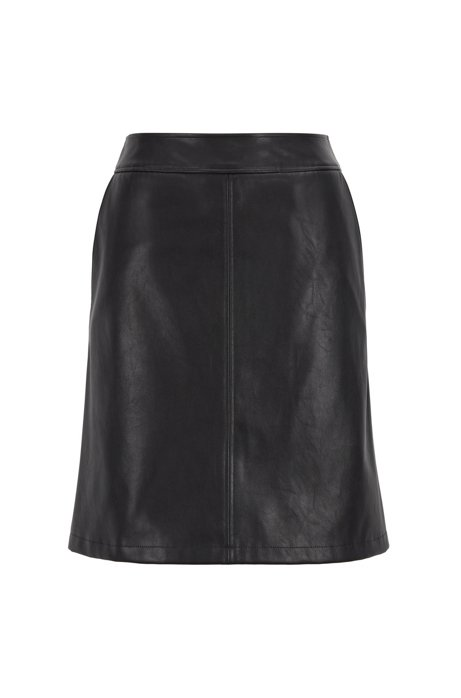 A-line mini skirt in faux leather, Black