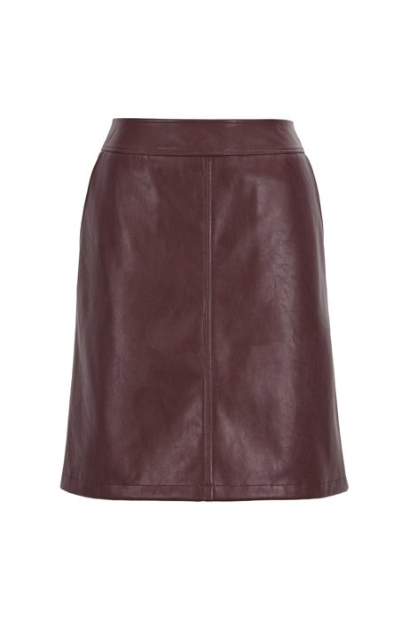 A-line mini skirt in faux leather, Dark Red
