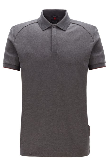 Slim-fit polo shirt in interlock cotton, Grey