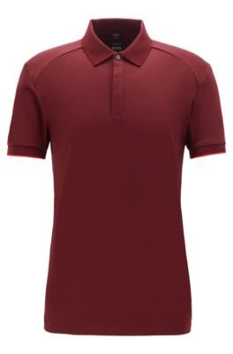 Poloshirt aus Interlock-Baumwolle, Dunkelrot