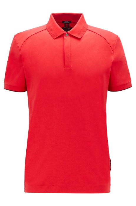 Polo Slim Fit en coton interlock, Rouge