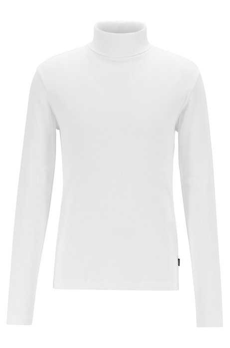 Long-sleeved T-shirt in ribbed Pima cotton with rollneck, White
