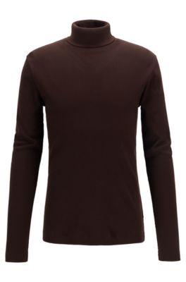 486b7ac2d2e00 T-shirt à manches longues en coton Pima côtelé, à col roulé
