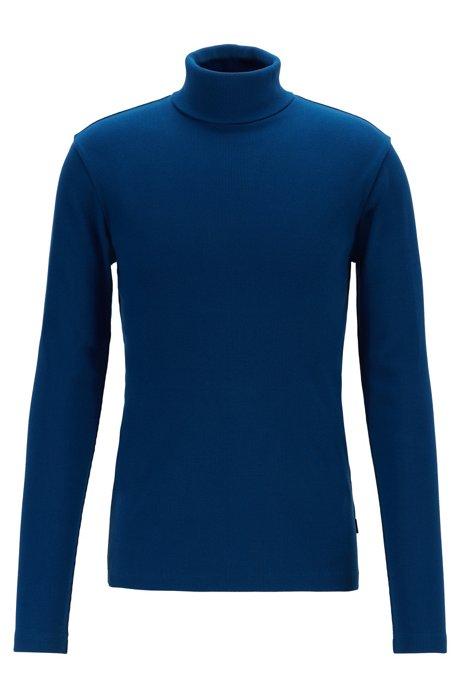 T-shirt à manches longues en coton Pima côtelé, à col roulé, Bleu foncé