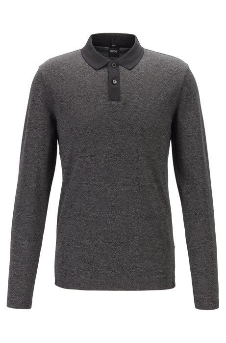 Slim-fit polo shirt in two-tone mouliné cotton, Black