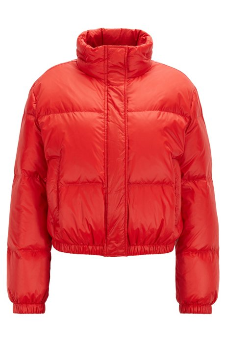 Oversized-fit lustrous puffer jacket with rear logo, Red