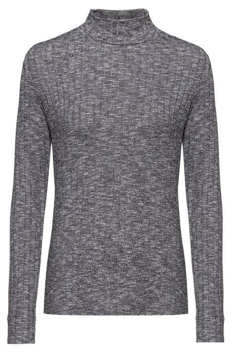 Slim-fit long-sleeved top in super-stretch fabric, Grey