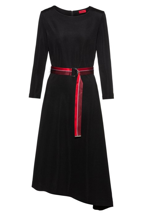 Belted dress in stretch jersey with asymmetric hemline, Black