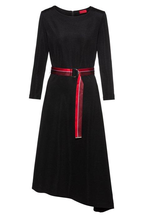 Kleid aus Stretch-Jersey mit Gürtel und asymmetrischem Saum, Schwarz