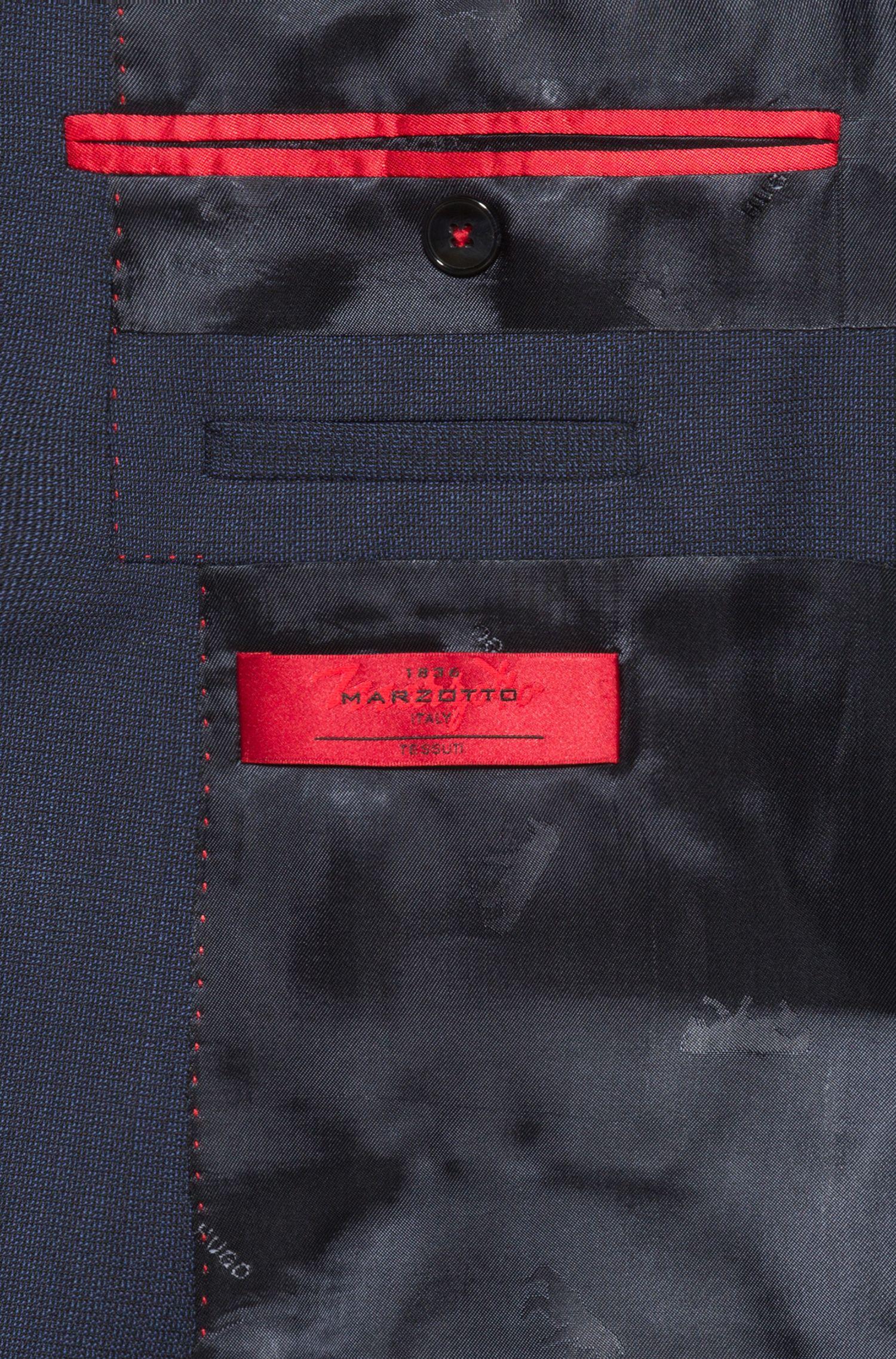 Traje con chaleco extra slim fit en lana virgen, Azul oscuro
