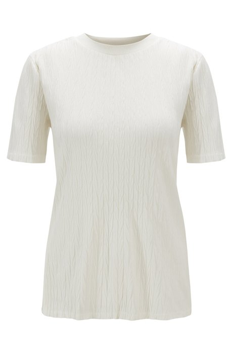Slim-fit T-shirt in structured jersey with ribbed stand collar, Natural
