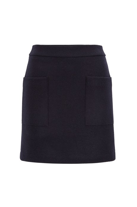 A-line mini-skirt in virgin wool with patched pockets, Dark Blue