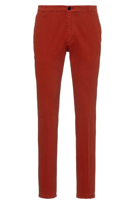 Extra-slim-fit trousers in stretch cotton, Brown
