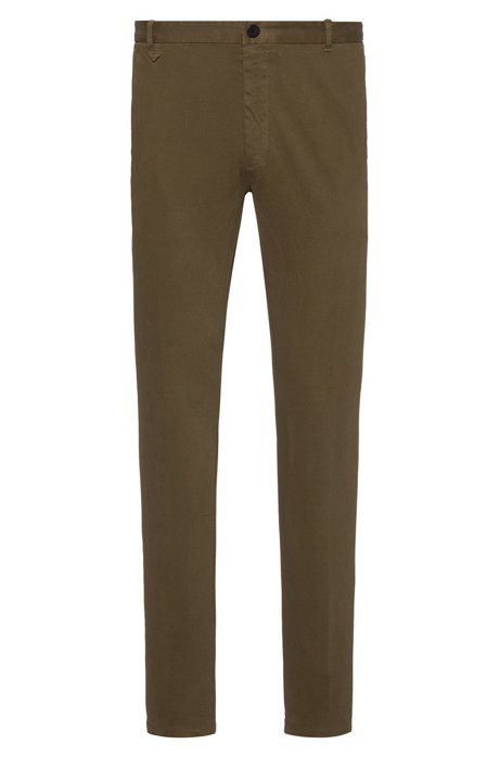 Pantalones extra slim fit en algodón elástico, Verde oscuro