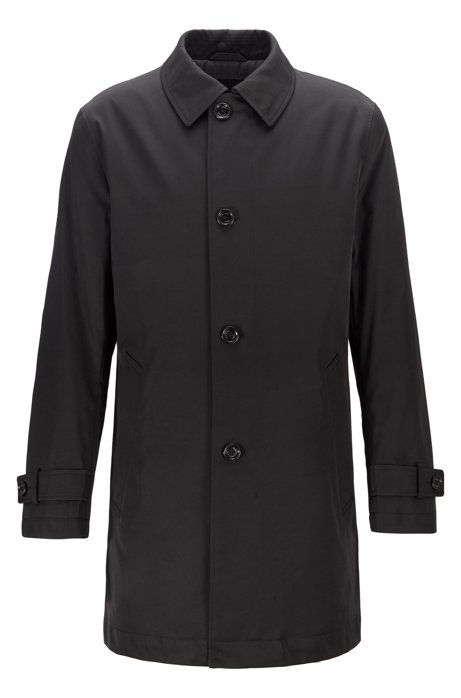 Water-repellent overcoat in twill with quilted lining, Black