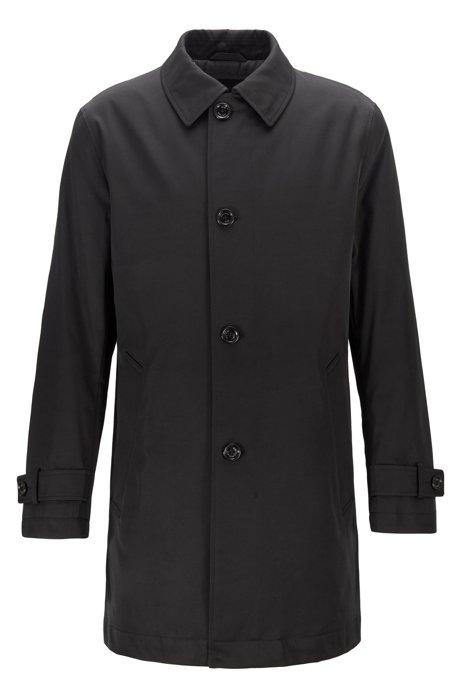 Wasserabweisender Regular-Fit Mantel aus Twill mit gestepptem Innenfutter, Schwarz