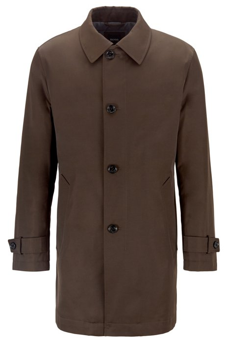 Water-repellent overcoat in twill with quilted lining, Open Green