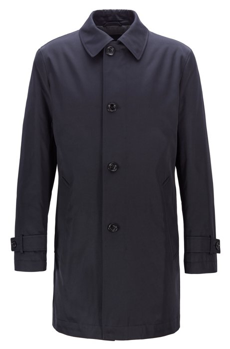 Water-repellent overcoat in twill with quilted lining, Dark Blue