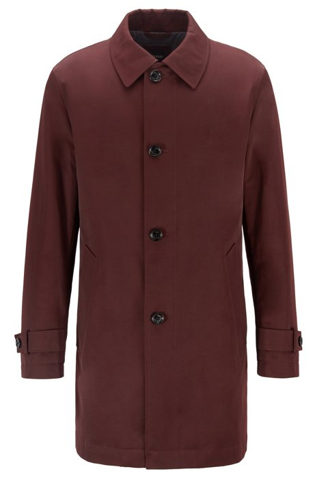 Water-repellent overcoat in twill with quilted lining, Dark Red