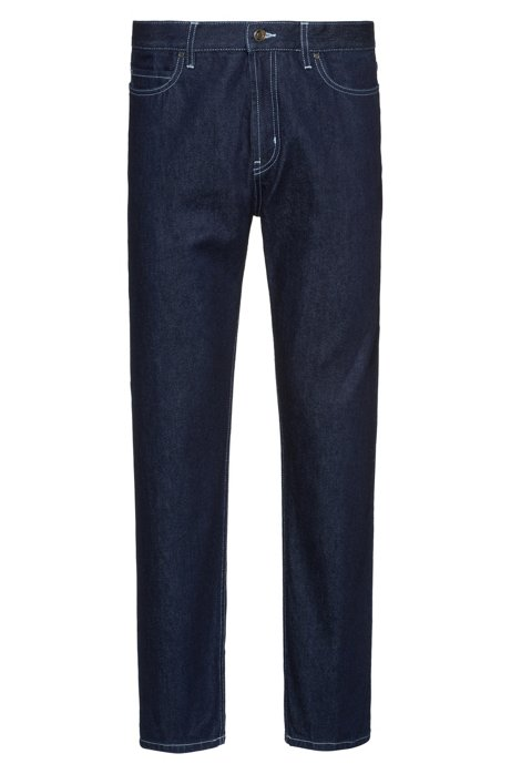 Relaxed-fit jeans van Italiaans selvedge-denim, Donkerblauw