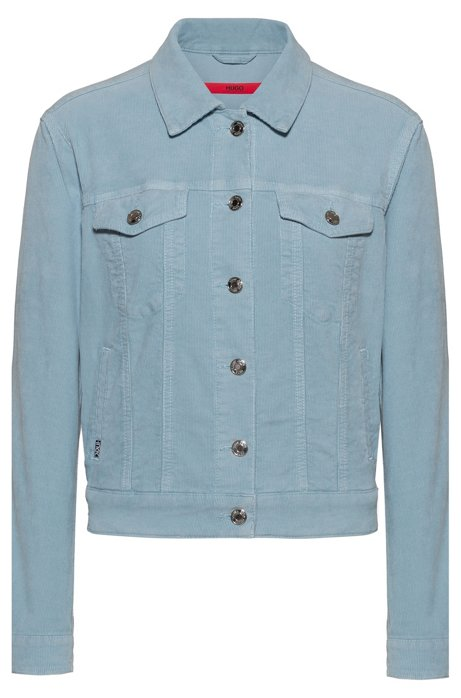 ALEX Slim-Fit Jacke aus elastischem Denim-Cord in Cropped-Länge, Hellblau