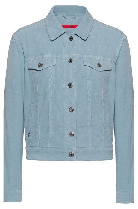 ALEX slim-fit cropped jacket in corduroy stretch denim, Light Blue