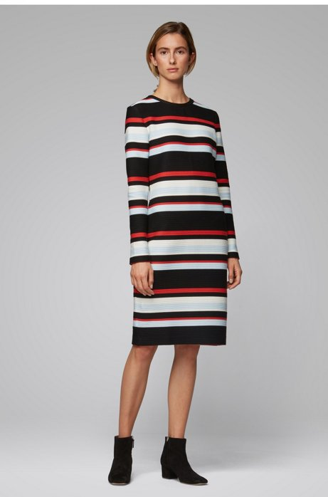 Long-sleeved ottoman dress with multi-coloured stripes, Patterned