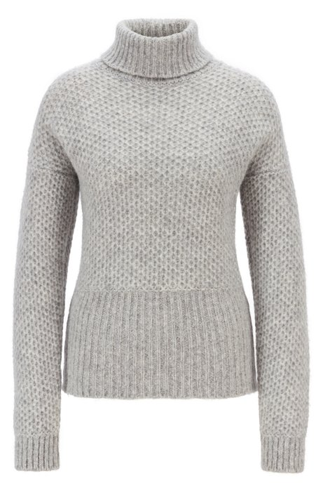 Relaxed-fit chunky-knit sweater with a turtleneck, Light Grey
