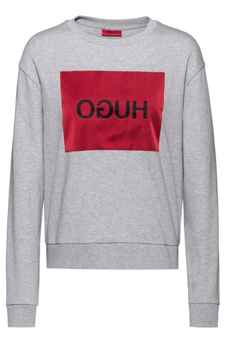 Relaxed-fit sweatshirt with reverse-logo patch, Grey