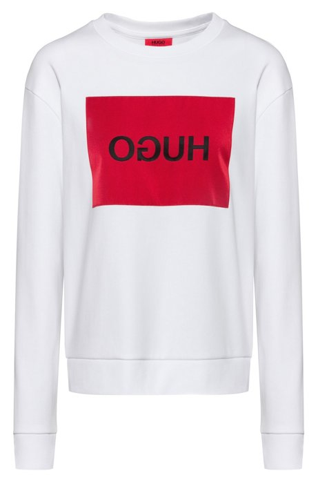 Relaxed-fit sweatshirt with reverse-logo patch, White
