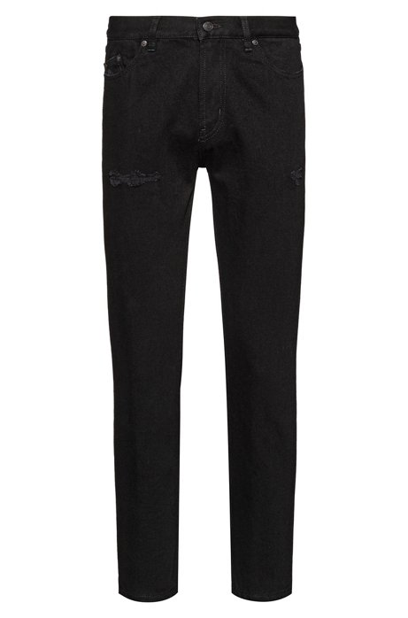 Jean Tapered Fit en denim noir délavé, Noir