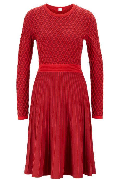 Two-tone knitted dress in a cotton-blend raised jacquard, Red