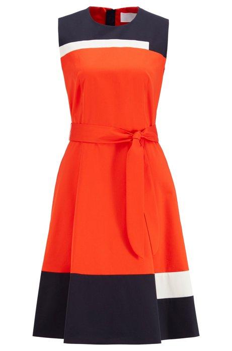 Robe sans manches en coton satiné avec ceinture à nouer, Orange