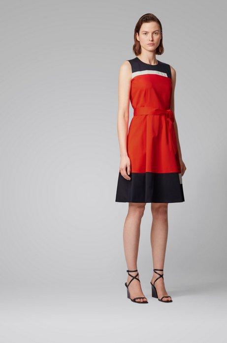 Vestito senza maniche in cotone effetto satin con cintura annodabile, Arancione