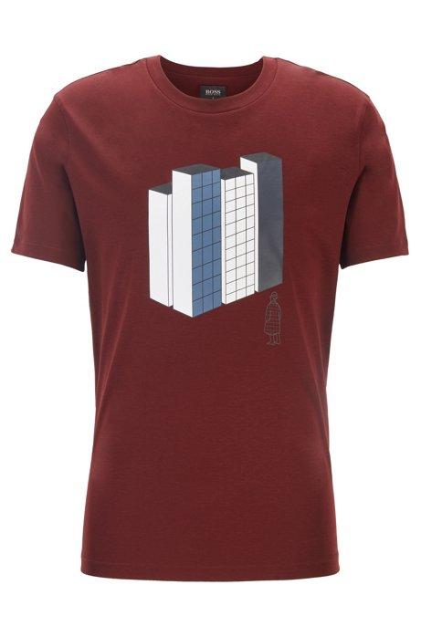 Limited edition Konstantin Grcic T-shirt met stedelijk artwork, Donkerrood