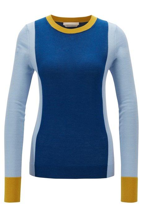Slim-fit colour-block sweater in virgin wool, Patterned