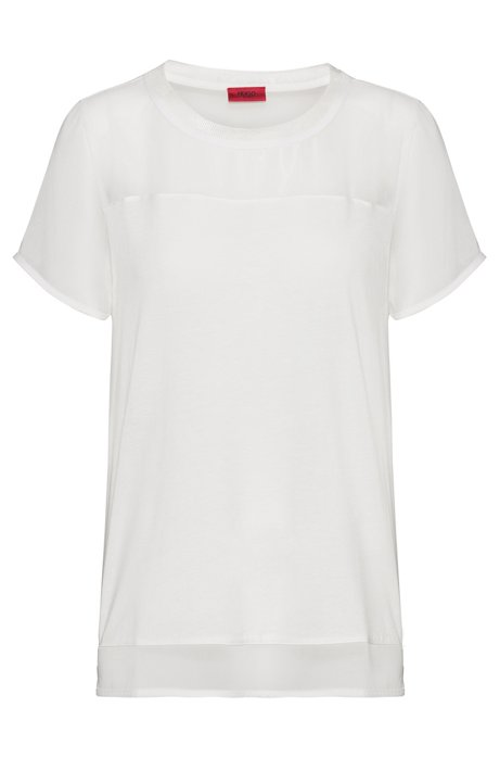 Regular-fit T-shirt met korte mouwen en inzetstukken van chiffon, Naturel