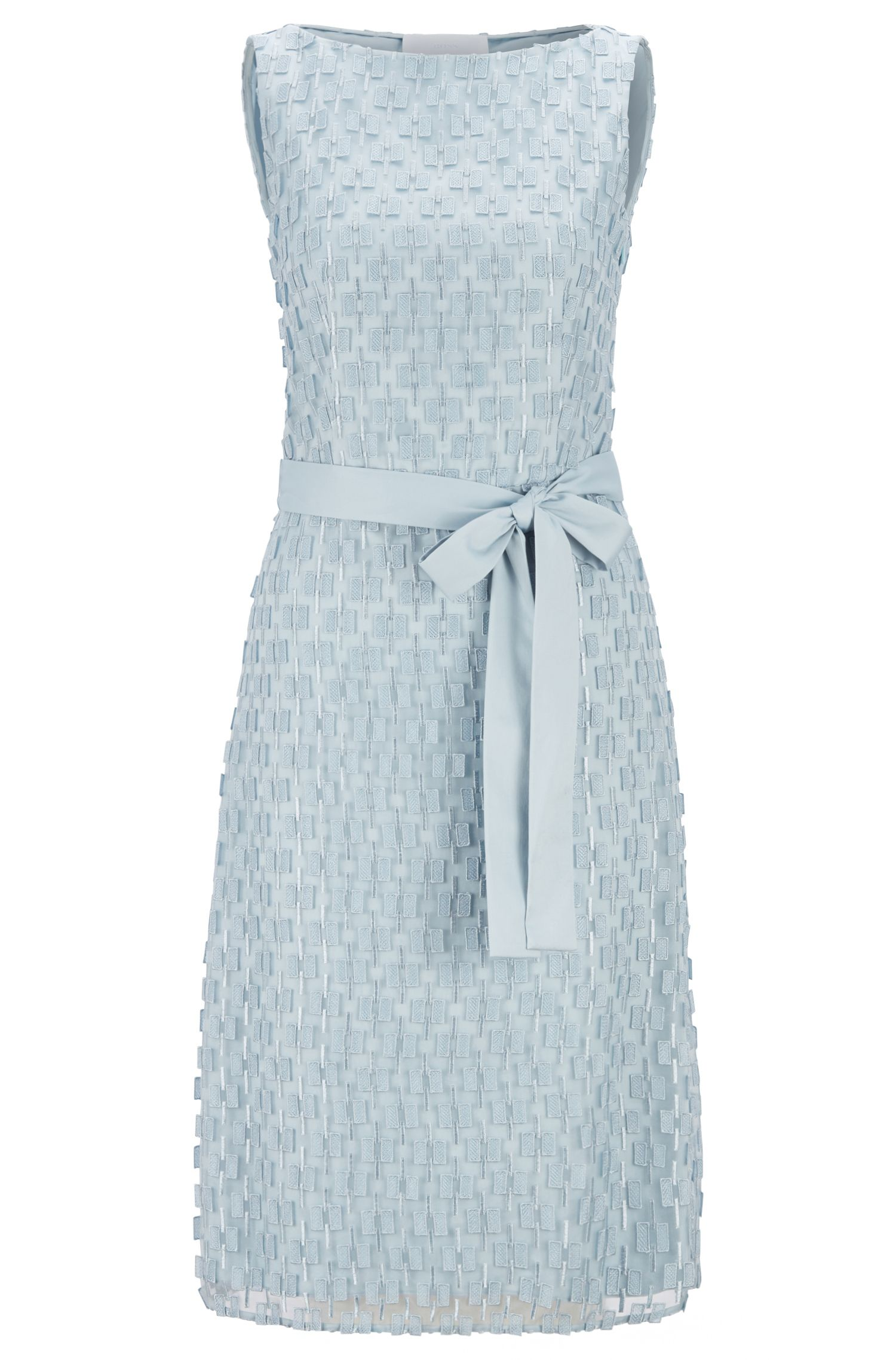 Robe Regular Fit en dentelle brodée avec ceinture à nouer, Bleu vif
