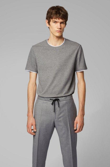 Camiseta de algodón ecológico con cuello y puños dobles, Gris