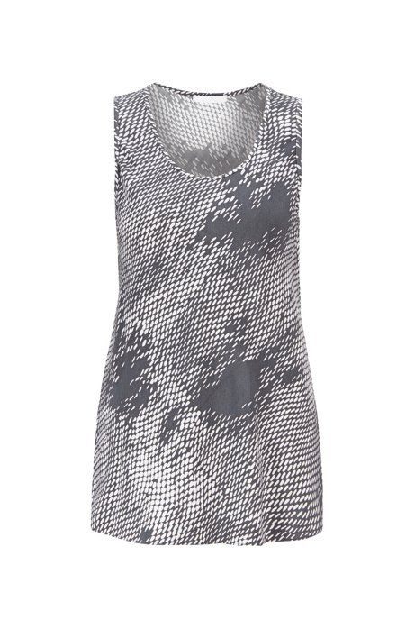 Sleeveless top in exclusive snake-print motif, Patterned