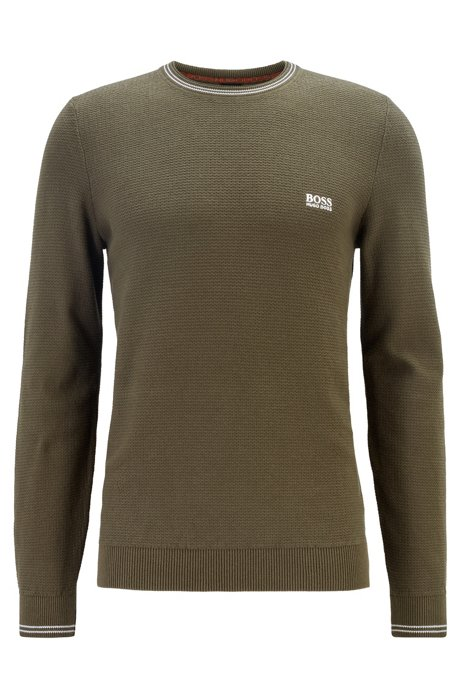 Structured-knit sweater in organic cotton with tipping stripes, Dark Green
