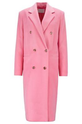 Manteau croisé Relaxed Fit en zibeline de laine vierge, Rose clair