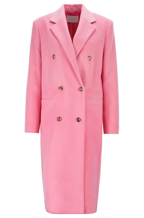 Abrigo cruzado relaxed fit de lana virgen con acabado de cibelina, Rosa claro