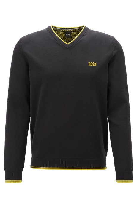V-neck sweater in a cotton blend with logo details, Black