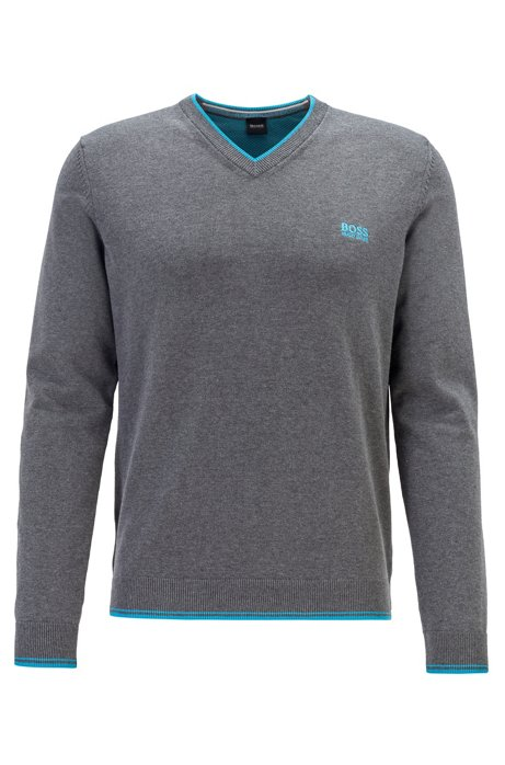 V-neck sweater in a cotton blend with logo details, Grey
